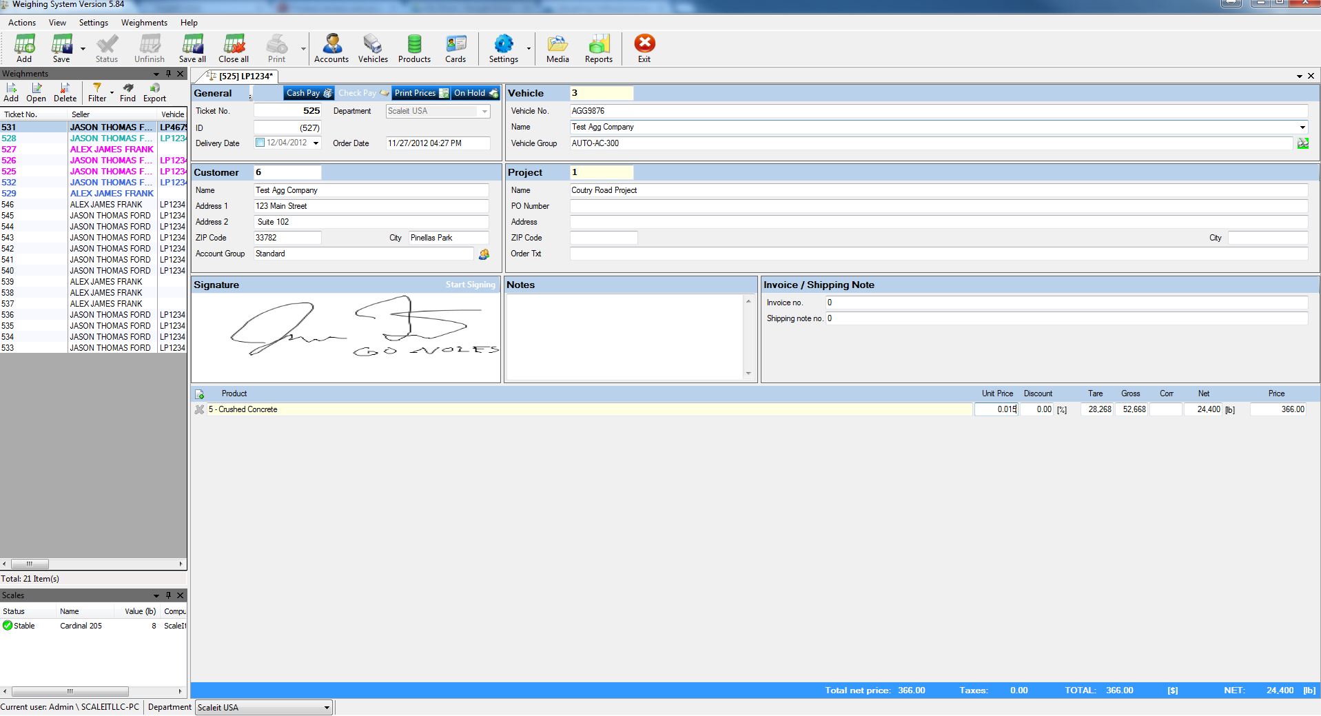 Scaleit W8 Aggregate Software