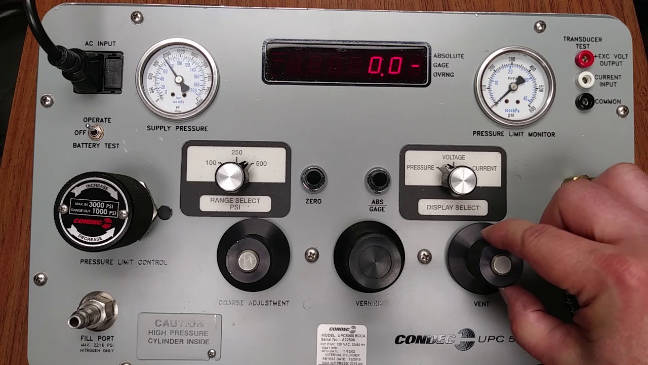 Condec UPC5000 Pressure Calibration Standard Video